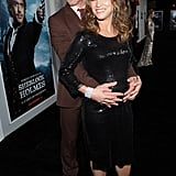 Robert Downey grabbed his pregnant wife's belly on the black carpet.
