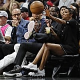 Gabrielle Union and Dwyane Wade Dodge Basketball at NBA Game