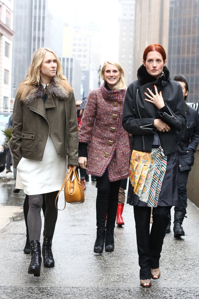 The style pack — as led by Taylor Tomasi Hill — made their way to the tents in a mix of gorgeous layers.