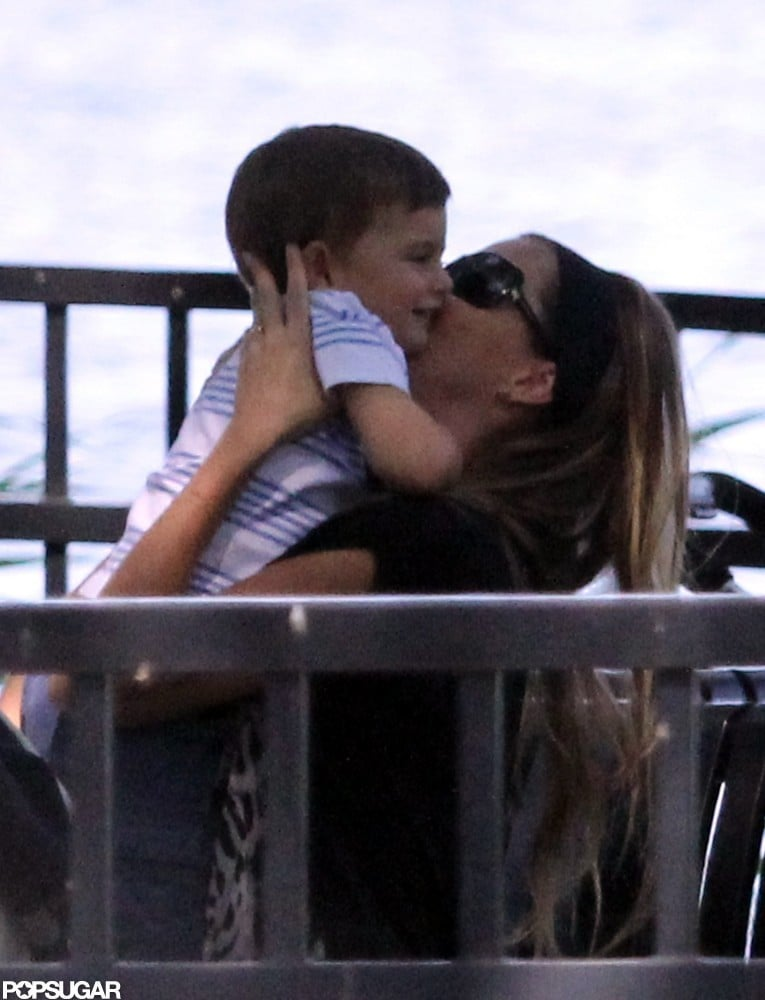 Gisele Bündchen couldn't keep her hands off her adorable son, Benjamin Brady, in the park in Boston during August.