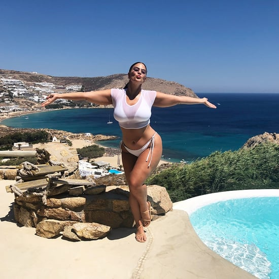 Ashley Graham White Bikini With Sheer Crop Top