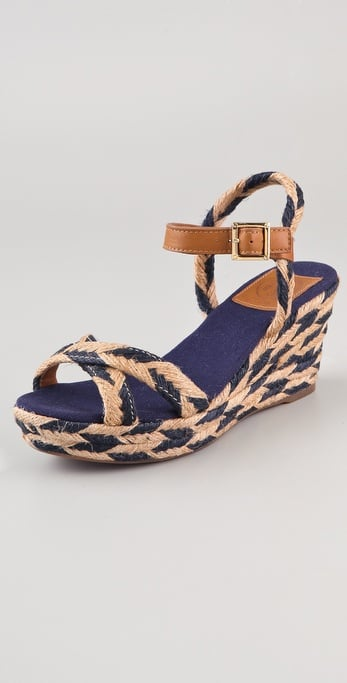 Tory Burch's braided jute wedges are just what we need for our next beach vacation.  Tory Burch Camelia Mid Wedge Espadrilles ($185)