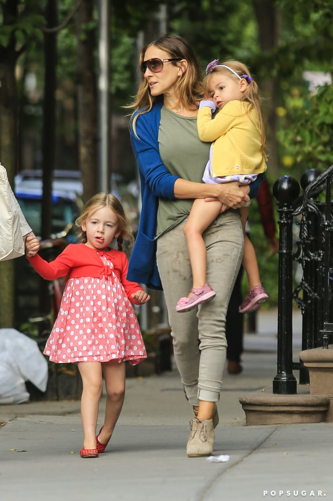 Sarah Jessica Parker walked her twin daughters, Loretta and Tabitha Broderick, to school in the West Village neighborhood of NYC.