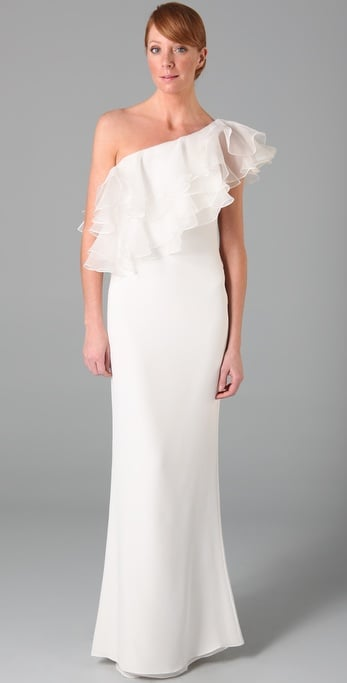 The glam femininity that comes with the Marchesa label for a bargain price.  Notte by Marchesa One-Shoulder Column Gown ($895)