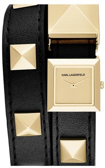 Karl Lagerfeld 'Demi' Stud Double Strap Watch ($250)