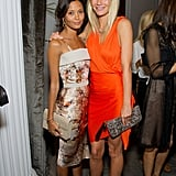 She and fellow stunning actress Thandie Newton posed together at a Coach dinner in London in September 2011.