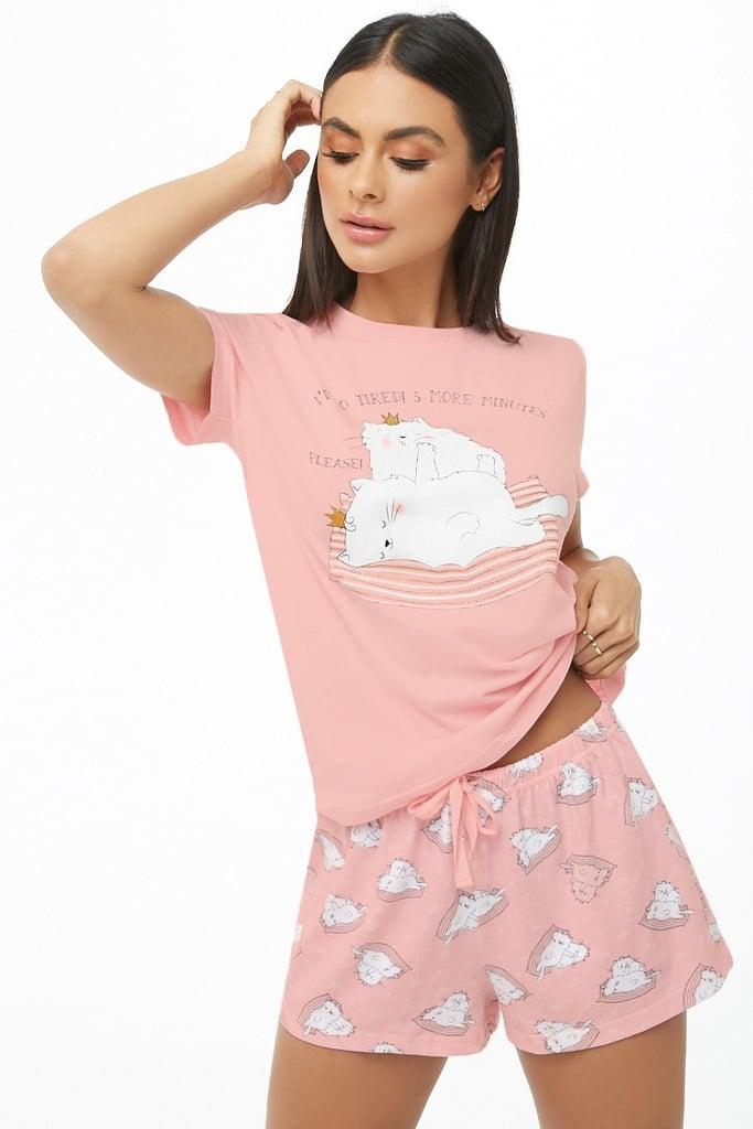 Cat Print Tee and Shorts PJ Set