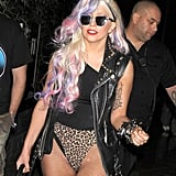 Lady Gaga With Streaks of Pink and Purple in Her Hair