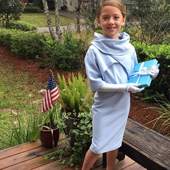 Girl Dressed as Melania Trump For School Project
