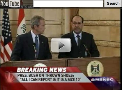 Bush Ducks As Journalist Throws Shoes at His Head in Iraq Video
