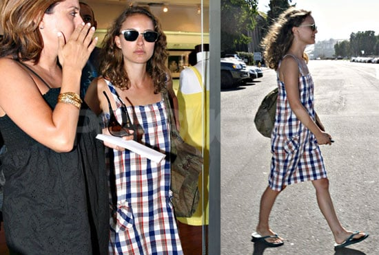 Photos of Natalie Portman Shopping in a Plaid Dress in Malibu