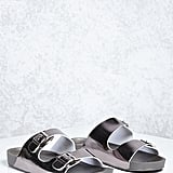 Forever 21 FOREVER 21+ Metallic Buckled Strap Slides