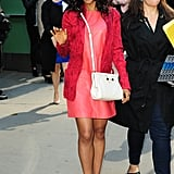Kerry popped up in NYC looking bold in a red leather Miss Wu shift and a white Jason Wu cross-body bag.