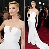 Charlize Theron was a vision in white in her Dior gown.