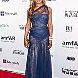 Showing her softer side, Laverne opted for this soft, romantic chiffon gown at the amfAR Inspiration Gal in 2014.