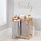 mDesign Bamboo Wood Laundry Station