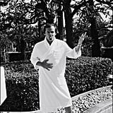 Jack Nicholson was photographed in his bathrobe outside his hotel in 1974.