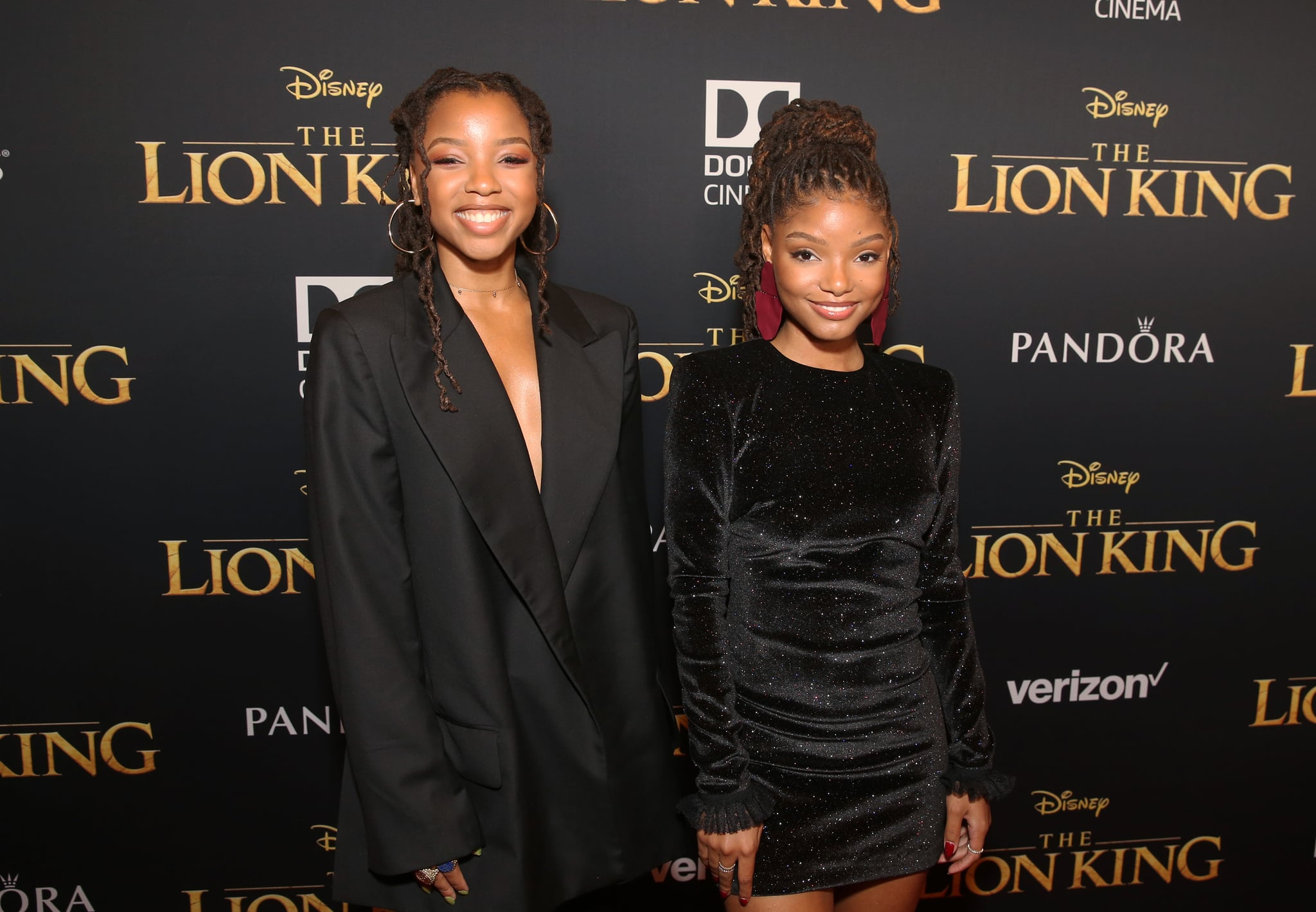 HOLLYWOOD, CALIFORNIA - JULY 09: Chloe Bailey (L) and Halle Bailey attend the World Premiere of Disney's