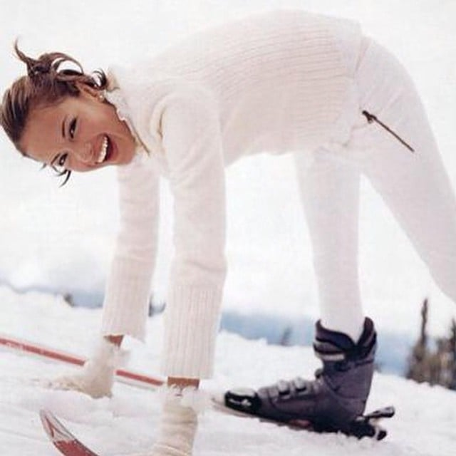 Alessandra Ambrosio went skiing for the first time in Argentina.