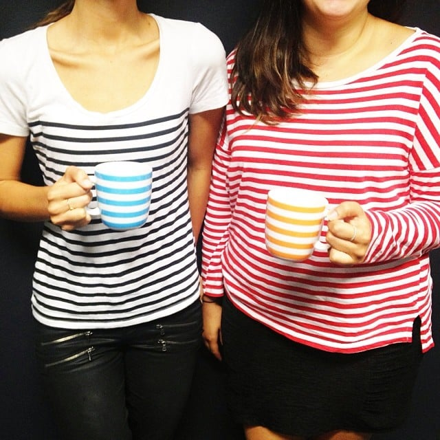 Is this awkward, or can Jasmine and Genevieve pass it off as a purposeful statement about matching your clothes to your crockery? One thing's for sure: stripes are popular 'round these parts.