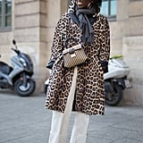 Style Your Leopard-Print Coat With: White Pants, a Scarf, and Boots