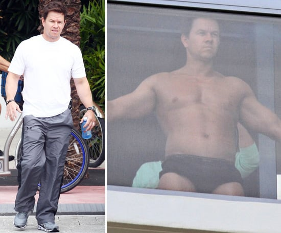 Shirtless Mark Wahlberg Gets a Spray Tan Touch-Up