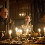 Walder sitting next to a terrified young bride at the Red Wedding