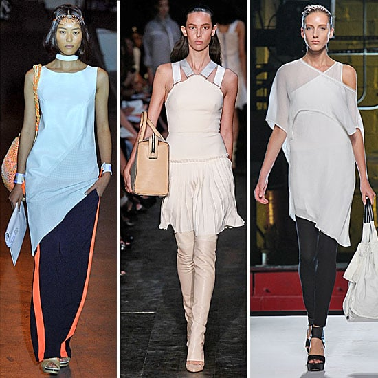 2012 Spring Summer New York Fashion Week Trend: Dresses and Tunic Worn Over Pants, as Seen at Victoria Beckham and Helmut Lang