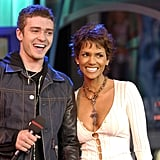 Justin he was a lucky man standing next to Halle Berry during his November 2002 TRL performance.
