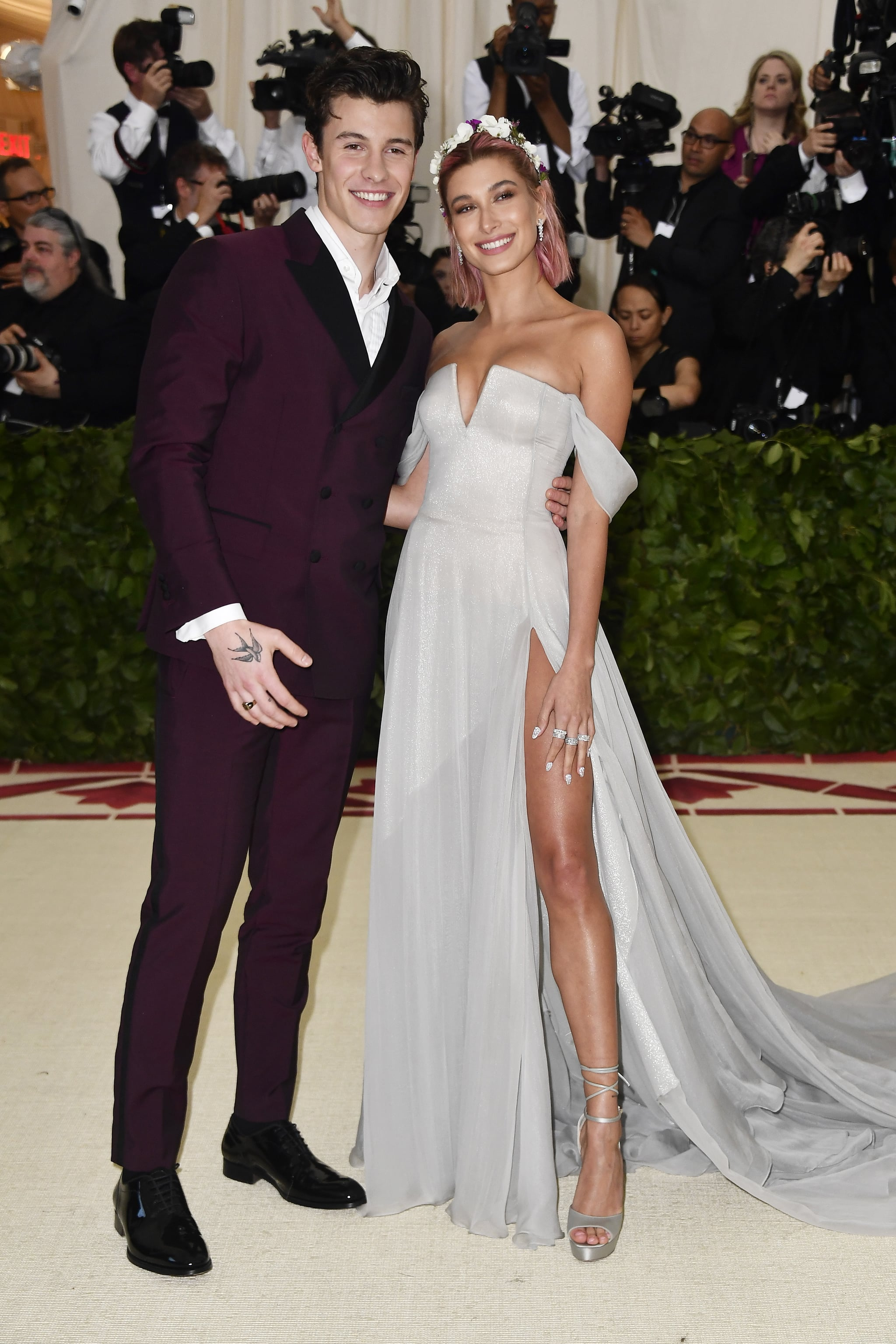 NEW YORK, NY - MAY 07: Shawn Mendes and Hailey Baldwin attend the Heavenly Bodies: Fashion & The Catholic Imagination Costume Institute Gala at The Metropolitan Museum of Art on May 7, 2018 in New York City.  (Photo by Frazer Harrison/FilmMagic)