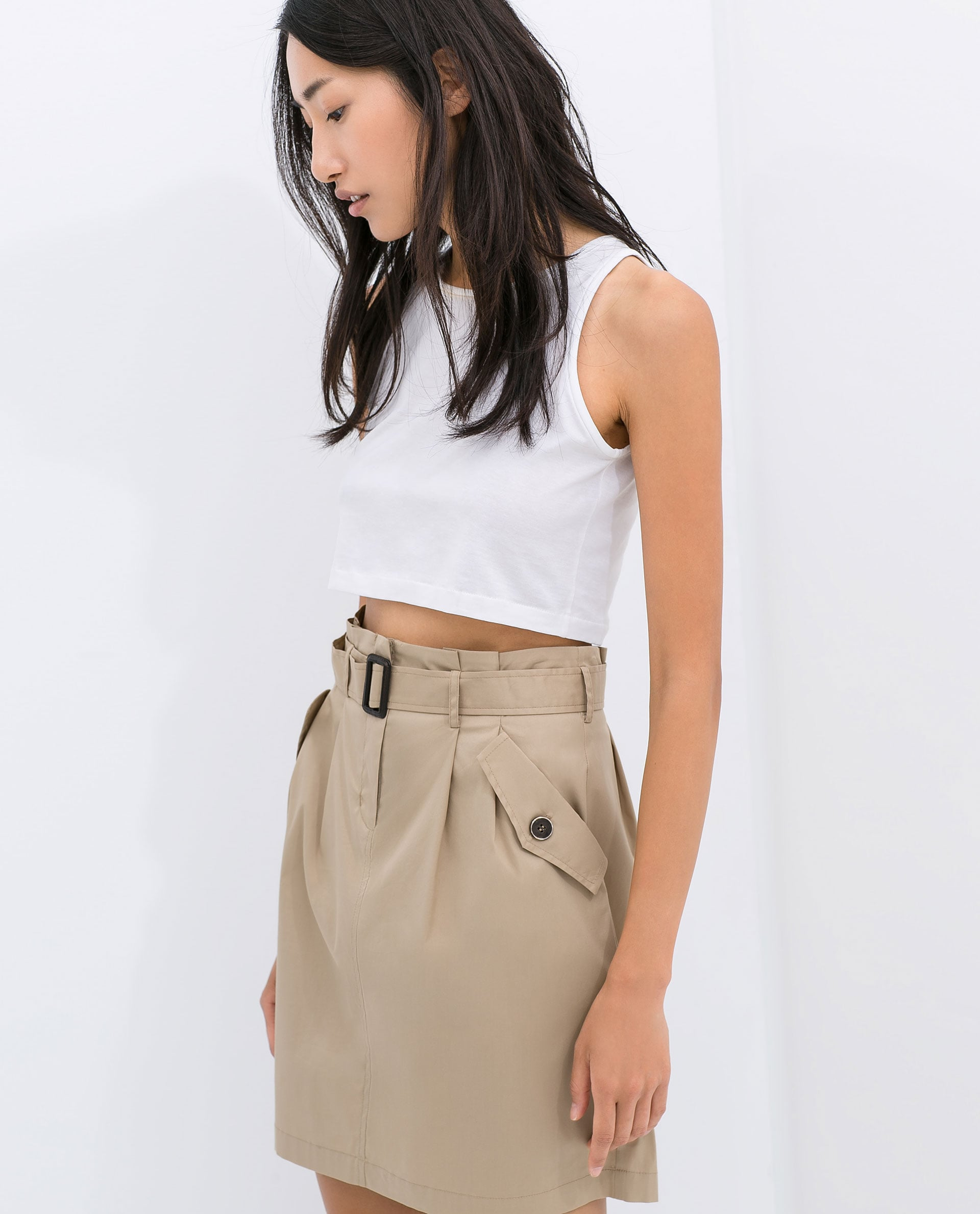 Zara Poplin Skirt With Belt ($60)
