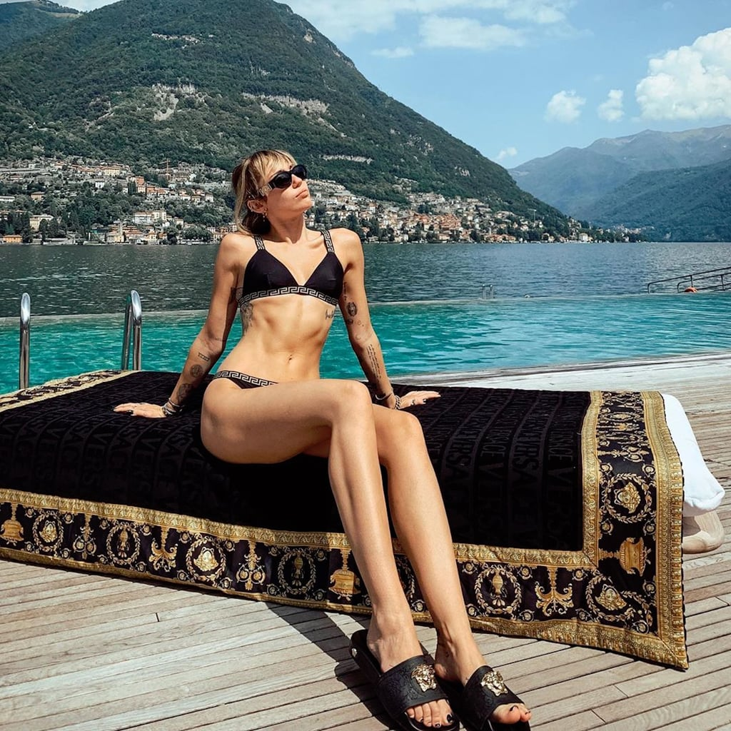 Miley Cyrus Black Versace Bikini 2019