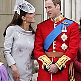 Kate Middleton and Prince William shared a smile on the balcony of Buckingham Palace in June.