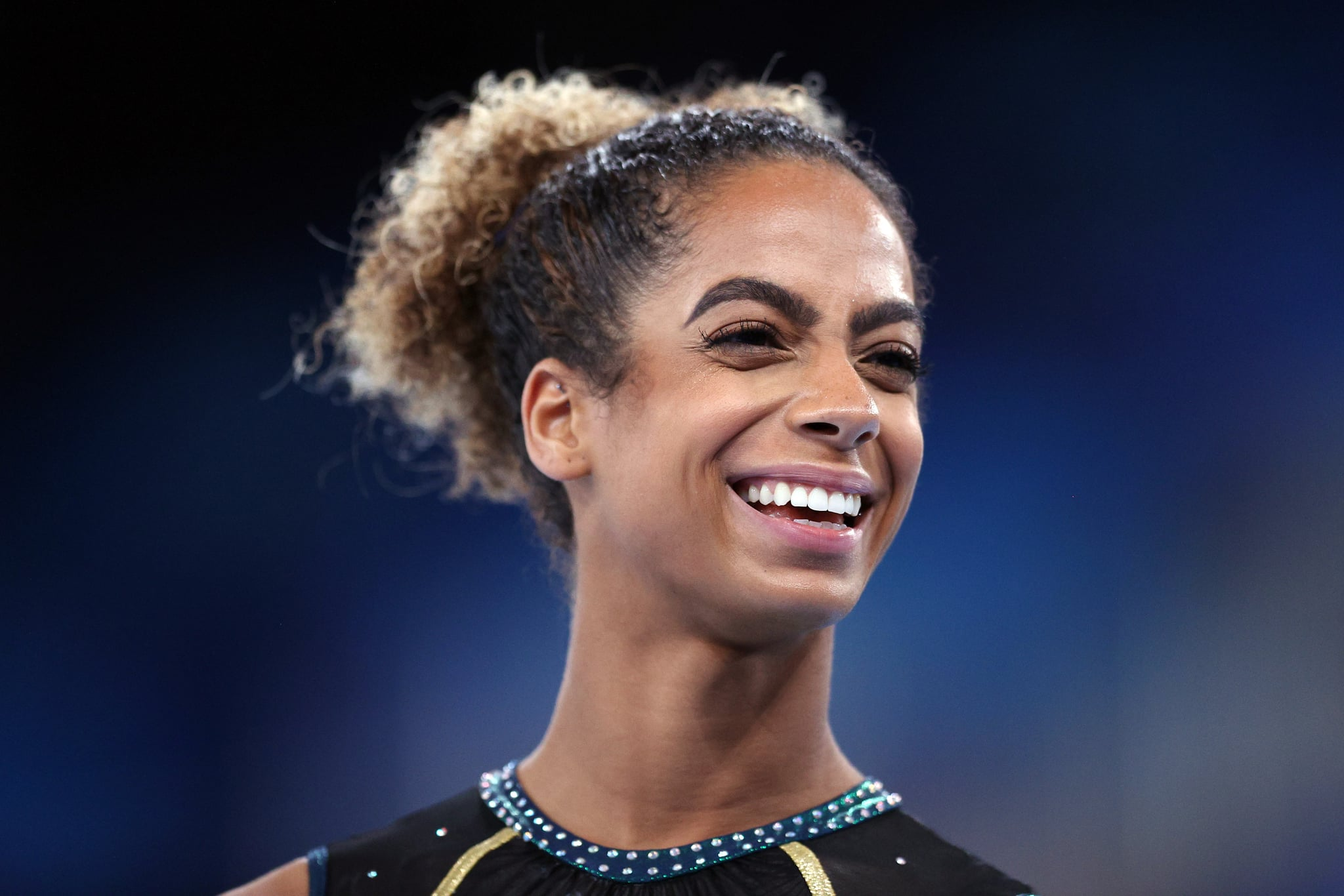TOKYO, JAPAN - JULY 22: Danusia Francis of Team Jamaica smiles during Women's Podium Training ahead of the Tokyo 2020 Olympic Games at Ariake Gymnastics Centre on July 22, 2021 in Tokyo, Japan. (Photo by Patrick Smith/Getty Images)
