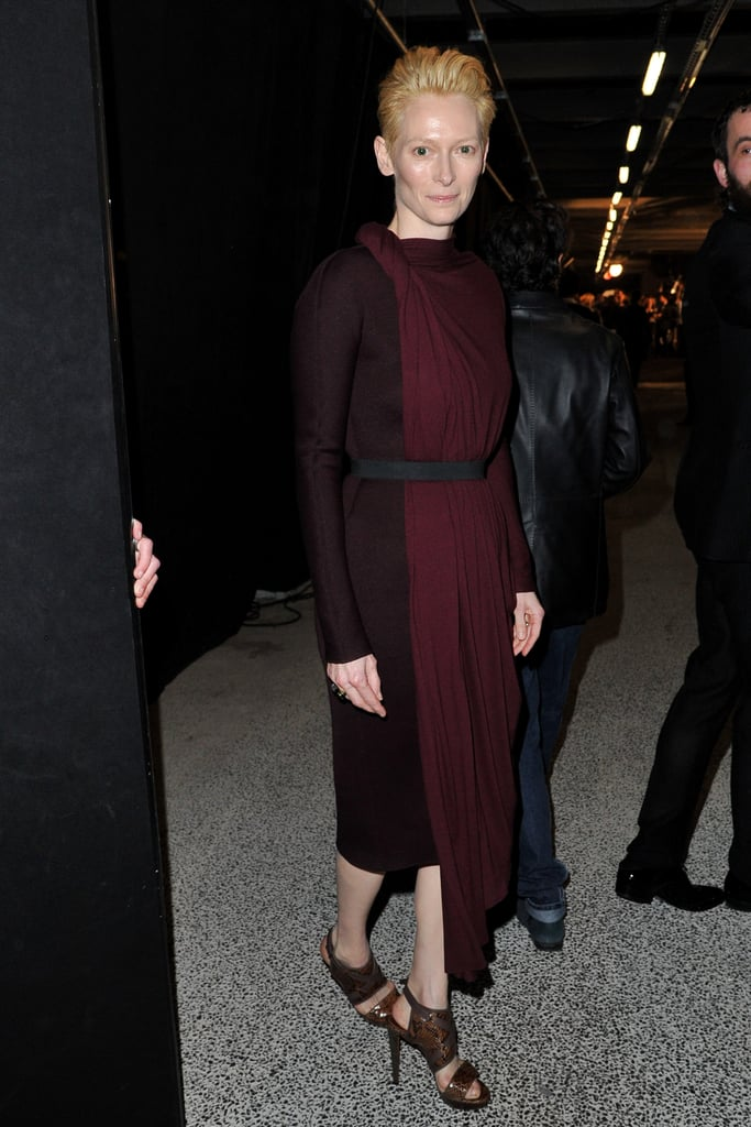 Tilda Swinton donned a two-toned Lanvin frock for the brand's Fall '12 show.