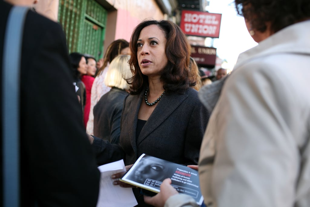 In October 2008, Kamala accessorized a charcoal suit with shimmering black pearls for a press conference in California, where she's from.