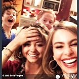Sofia Vergara snapped a silly selfie on the set of Modern Family as she filmed the show's 100th episode with Jesse Tyler Ferguson, Sarah Hyland, and Nolan Gould. Source: Sofia Vergara on WhoSay