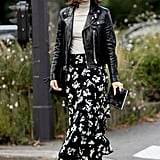 Trade a pencil skirt for a flowing, printed style, and top with a leather jacket for a new take on corporate essentials.