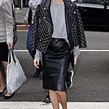 Hack: Invest in an embellished moto jacket that will come in handy when you're wearing anything from a sweatshirt and leather pencil skirt to jeans and loafers. Even when your neutral pieces are simple as can be, the coat will do all the talking.