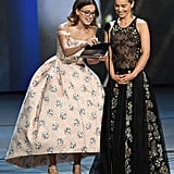 Earlier in the Night, Millie Took the Stage With Emilia Clarke