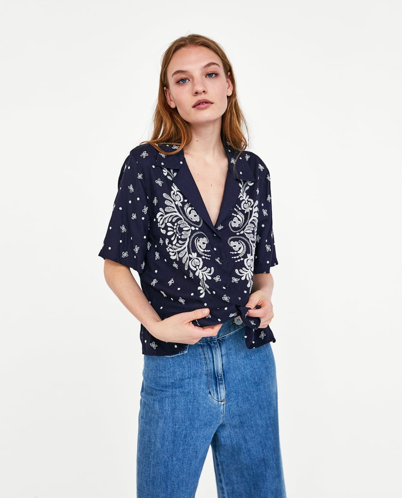 75c7ca3834110 Zara Shirt With Contrasting Embroidery | Zara Sale Summer 2018 ...
