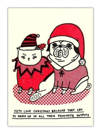"""""""Pets love Christmas because they get to dress up in all their favourite outfits"""" says this witty card ($12 for five)."""