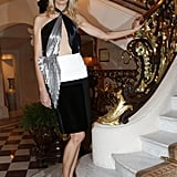 Karolina Kurkova posed by a staircase before heading into the launch party on Tuesday night.