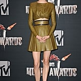Shailene Woodley in Leather Balmain Duo at the 2014 MTV Movie Awards