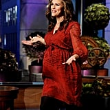 Jennifer Garner made a stop at The Tonight Show wearing a red tunic a month before giving birth to her third child, son Samuel.