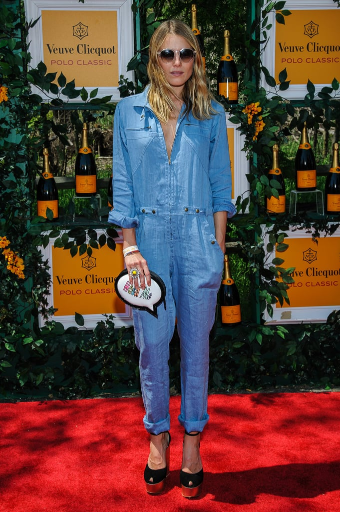 Dare to wear a denim jumpsuit like the one Dree Hemingway wore to the sixth annual Veuve Clicquot Polo Classic.
