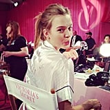Before Josephine Skriver put on her Angel wings, she blew a kiss from backstage! Source: Instagram user josephine_skriver