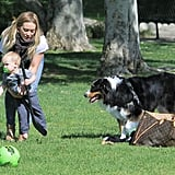 Hilary Hits the Park With Luca and Takes On Two and a Half Men