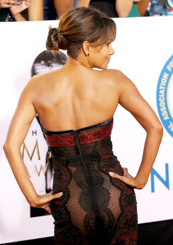 Halle Berry Sheer Reem Acra Dress