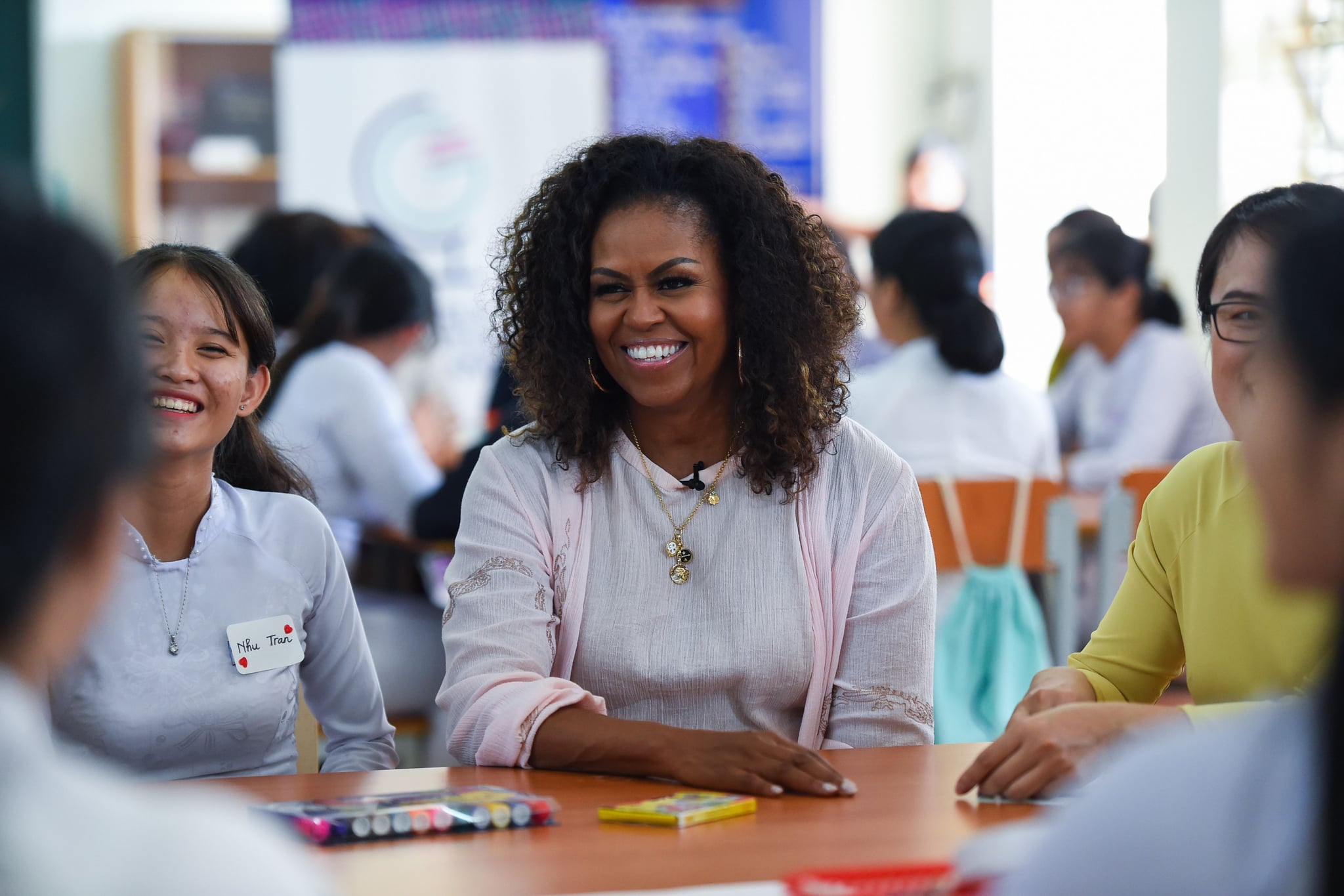 Former US First Lady Michelle Obama meets Vietnamese students in Can Giuoc district, Long An province on December 9, 2019. - Michelle Obama and Julia Roberts visit to promote girls' education in Vietnam. (Photo by Nhac NGUYEN / AFP) (Photo by NHAC NGUYEN/AFP via Getty Images)